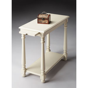 Cottage White White Chairside Table