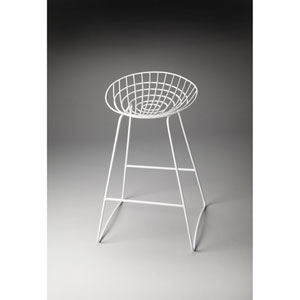Ludwig White Metal Bar Stool