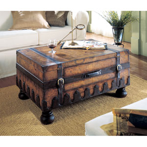 Heritage Genuine Leather Trunk Table