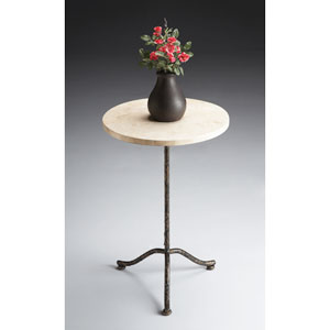 Metalworks Cream Fossil Stone Pedestal Table