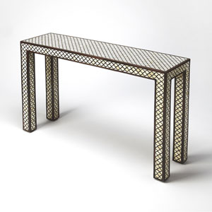 Basan Brown Bone Inlay Console Table
