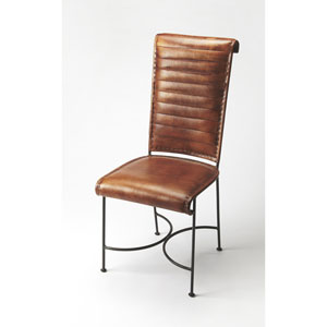 Buxton Iron and Leather Side Chair