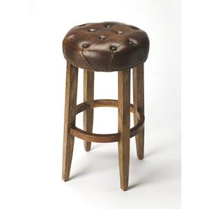 Gallatin Round Leather Bar Stool