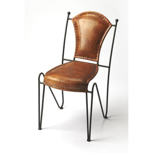 Coriander Iron and Leather Side Chair