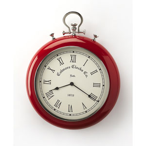 Scarlet Red and Nickel Finish Wall Clock