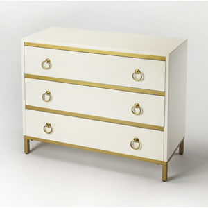 Monika White and Gold Accent Chest