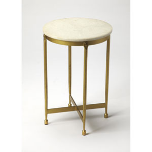 Claypool White Marble End Table
