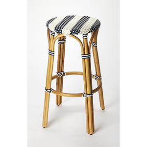 Butler Tobias Blue and White Rattan Bar Stool