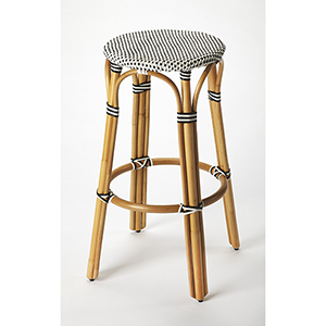 Butler Tobias Black and White Rattan Bar Stool