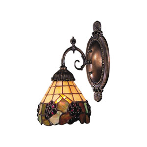 Mix-N-Match Tiffany Bronze One-Light Wall Sconce with Tiffany Style Glass