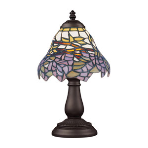 Mix and Match Tiffany Bronze Table Lamp - Purple