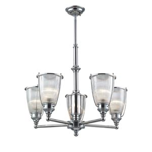 Halophane Five-Light Chandelier