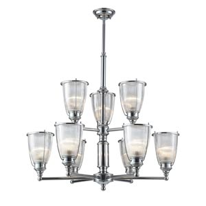 Halophane Nine-Light Chandelier