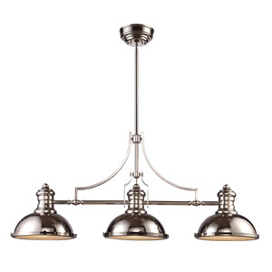 Chadwick Polished Nickel Three-Light Billiard/Island Pendant with Frosted Glass Diffuser