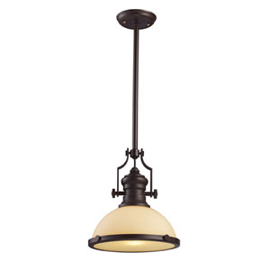 Chadwick Oiled Bronze One-Light Pendant with Amber Frosted Glass