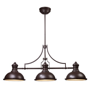 Chadwick Oiled Bronze Three-Light Billiard/Island Pendant with Frosted Glass Diffuser