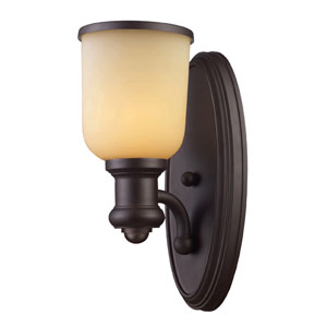 Brooksdale Oiled Bronze One-Light Bath Fixture with Amber Glass