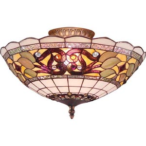 Muted Tiffany Flush Ceiling Light