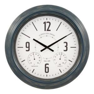 Blue Metal Outdoor Wall Clock