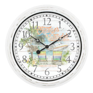 White Margaritaville Outdoor Wall Clock
