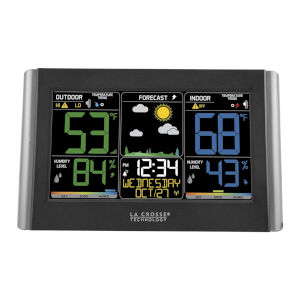 Black Wireless Weather Forecast Station with Colored LCD Display