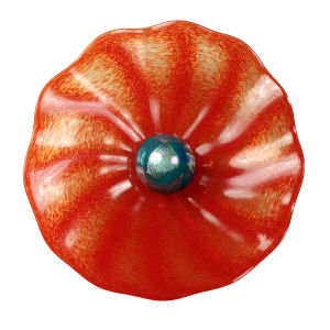 Pom Pom Red with Teal Center Ball 21-Inch Wall Plate
