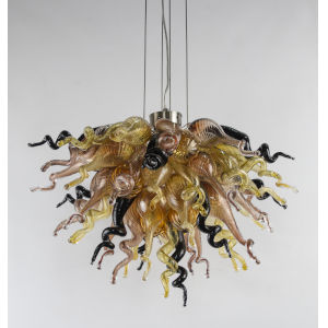 Copper Spice Copper Black and Amber Six-Light LED Chandelier