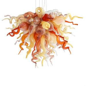 Desert Rose Copper Red and Beige Four-Light LED Chandelier