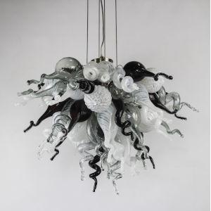 Monochrome Black and Gray Opaline Four-Light LED Chandelier