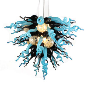 Nebula Azur Black and Blue Three-Light LED Chandelier