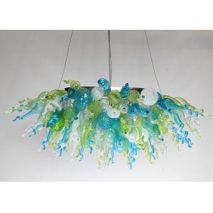 Ocean Mist Aqua Green and Opaline 11-Light LED Linear Chandelier