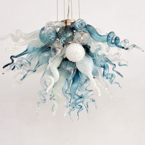 Winter Sky Blue Grey and Opaline Three-Light LED Chandelier