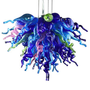 Wonders of Sea Aqua Green and Pink Three-Light LED Chandelier