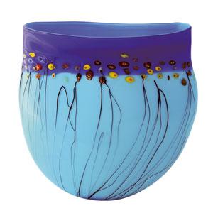Aquatic Passion Aqua and Cobalt Vase with Multi-Color Dots