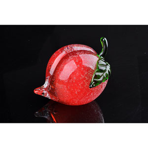 Red Peach Hand Blown Art Glass Fruit