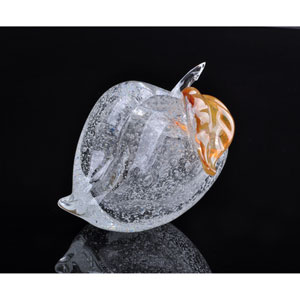 Clear Bubbly Peach Hand Blown Art Glass Fruit