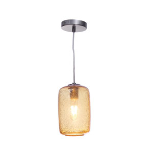 Vintage Satin Nickel 12-Inch Amber Bubble Cylinder Glass Pendant