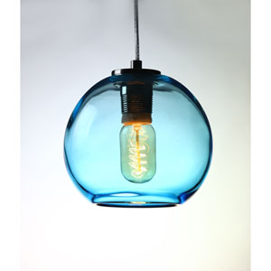 Vintage Satin Nickel Aqua Glass Globe Pendant