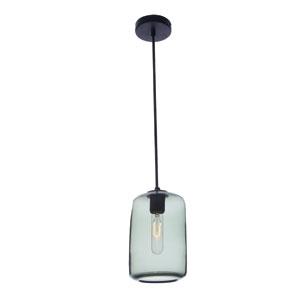 Vintage Pearl Black Grey Cylinder Glass Pendant