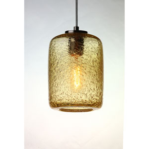 Vintage Satin Nickel 9-Inch Amber Bubble Cylinder Glass Pendant