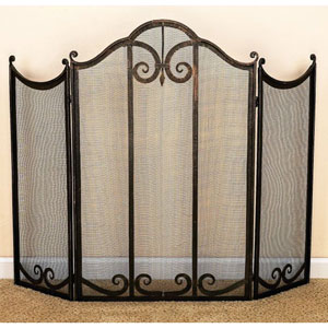 Light Burnished Gold Scroll Accents Fireplace Screen