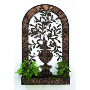 Brown Taupe Wall Planter with Urn Accent and Bottom Tray