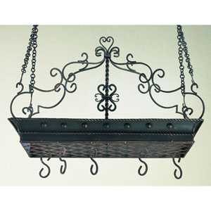 Burnished Gold Twisted Iron Scroll Pot Rack