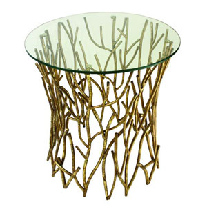 Italian Gold Twig Accent Round Side Table