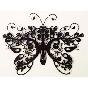 Brown Iron and Tole Butterfly Wall Decor