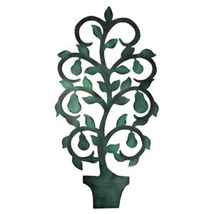 Copper Verdigris Pear Tree Topiary Wall Decor