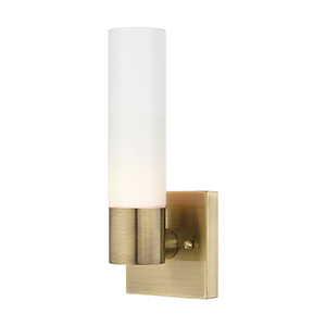 Aero Antique Brass 5-Inch One-Light ADA Wall Sconce with Hand Blown Satin Opal White Twist Lock Glass