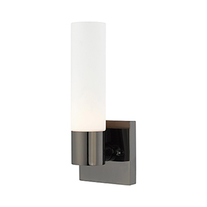 Aero Black Chrome 5-Inch One-Light ADA Wall Sconce with Hand Blown Satin Opal White Twist Lock Glass