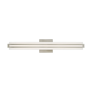 Fulton Brushed Nickel 4-Inch ADA Bath Vanity with Satin White Acrylic Shade