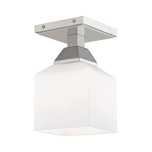Aragon Polished Chrome 5-Inch One-Light Ceiling Mount with Hand Blown Satin Opal White Glass